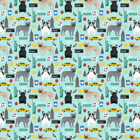 Frenchie dog breed (smaller scale) fabric new york city tourist french bulldog aqua fabric by petfriendly on Spoonflower - custom fabric