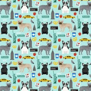 Frenchie dog breed (smaller scale) fabric new york city tourist french bulldog aqua