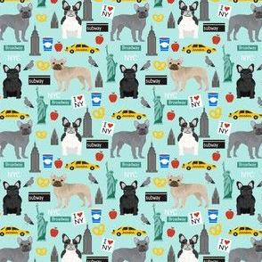 Frenchie dog breed (smaller scale) fabric new york city tourist french bulldog aqua