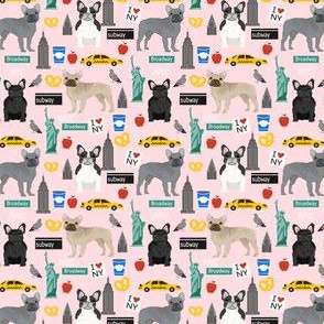 Frenchie dog breed (smaller scale) fabric new york city tourist french bulldog light pink
