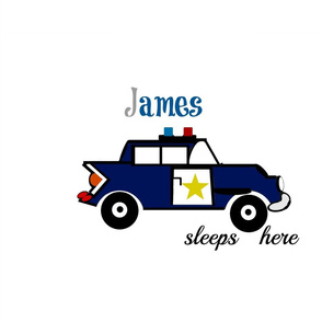 police car sleeps here XL20 -  gray blue Personalized James