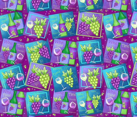 Red White Wine Patch Magenta fabric by phyllisdobbs on Spoonflower - custom fabric
