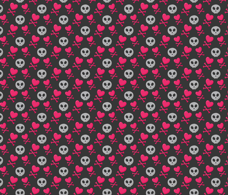 heart crossbones  fabric by runlenarun on Spoonflower - custom fabric