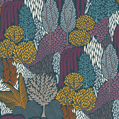 Wooded Mountain - Winter fabric by annabhall on Spoonflower - custom fabric