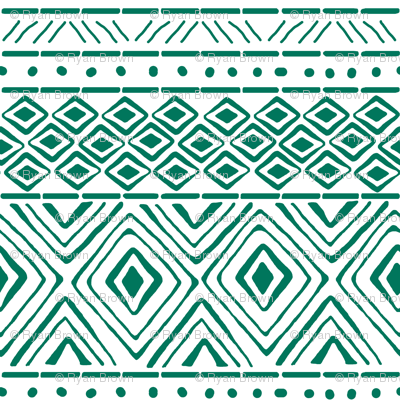 Ornate Teal Mud Cloth // Small