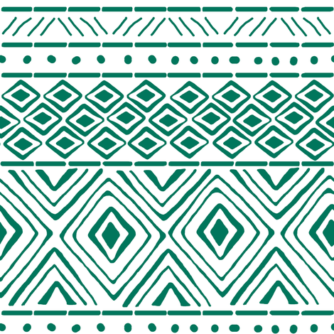 Ornate Teal Mud Cloth // Small fabric by thinlinetextiles on Spoonflower - custom fabric