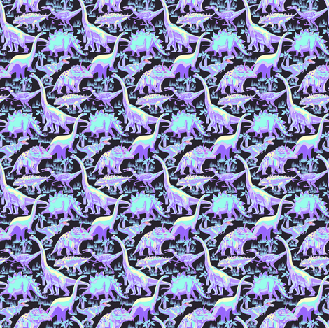 Dinosaurs pastel on dark charcoal fabric by house_of_heasman on Spoonflower - custom fabric