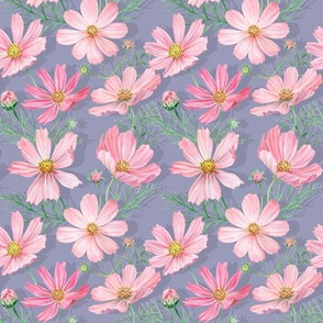 Gray cosmos flowers pattern