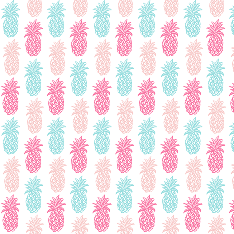 Pineapple pink and blue summer mini fabric by magentarosedesigns on Spoonflower - custom fabric