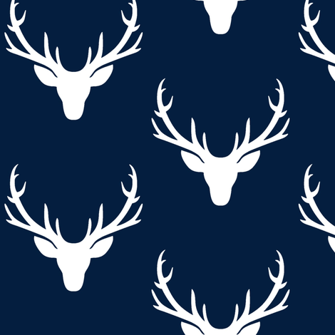 Navy + White Deer Antlers – Woodland Baby Nursery Kids Children baby Boy Bedding A fabric by gingerlous on Spoonflower - custom fabric