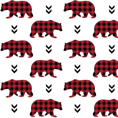 Bears – Red and Black Plaid Bear Buffalo Plaid Check Baby Nursery Bedding fabric by gingerlous on Spoonflower - custom fabric