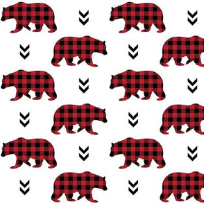 Bears – Red and Black Plaid Bear Buffalo Plaid Check Baby Nursery Bedding