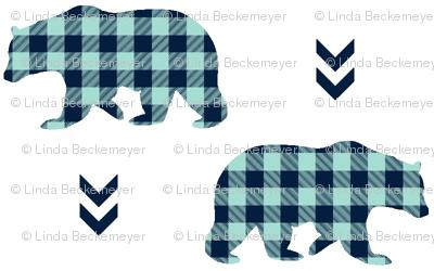 Bears – Navy + Mint Plaid Bear Buffalo Plaid Check Baby Nursery Bedding A