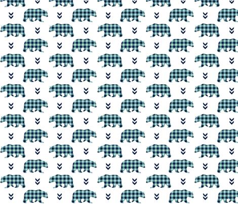 Bears – Navy + Mint Plaid Bear Buffalo Plaid Check Baby Nursery Bedding A fabric by gingerlous on Spoonflower - custom fabric