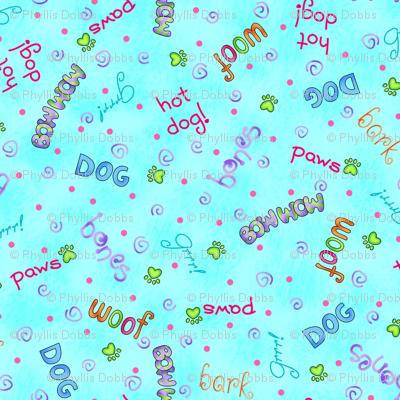 Dog Words Turquoise
