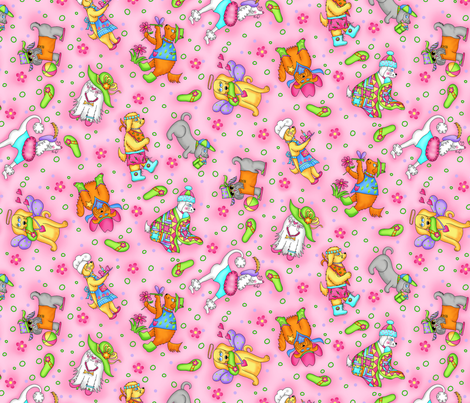 Dogs Life Pink fabric by phyllisdobbs on Spoonflower - custom fabric