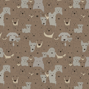 Menagerie of Marvelous Mutts - dogs in earth brown tones small