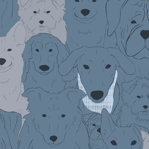 Menagerie of Marvelous Mutts - dogs in slate blue tones XL