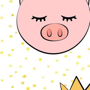 (jumbo scale) princess/prince pig - yellow dots