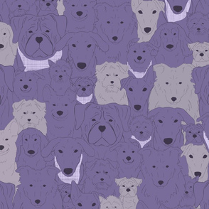 Menagerie of Marvelous Mutts - dogs in lavender bloom tones medium