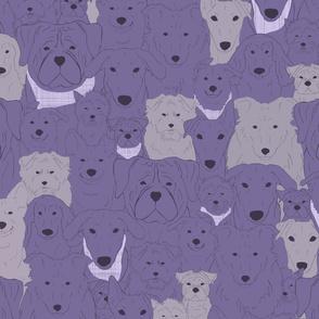 Menagerie of Marvelous Mutts - dogs in lavender bloom tones medium