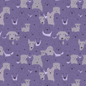 Menagerie of Marvelous Mutts - dogs in lavender bloom tones small