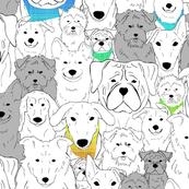 Menagerie of Marvelous Mutts - dogs in rainbow bandanas large