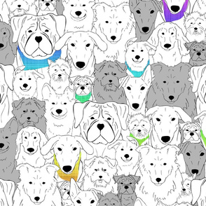 Menagerie of Marvelous Mutts - dogs in rainbow bandanas medium