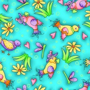 Birds and Flowers Turquoise