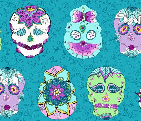 Skulls Turquoise fabric by kkomdahl on Spoonflower - custom fabric