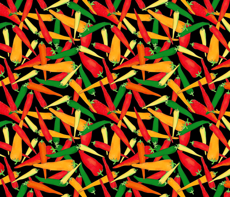 Hot Pepper Peppers Black fabric by phyllisdobbs on Spoonflower - custom fabric