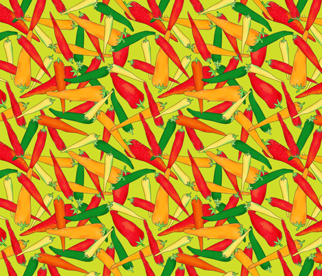 Hot Pepper Peppers Green fabric by phyllisdobbs on Spoonflower - custom fabric