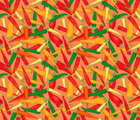 Hot Pepper Peppers Orange fabric by phyllisdobbs on Spoonflower - custom fabric