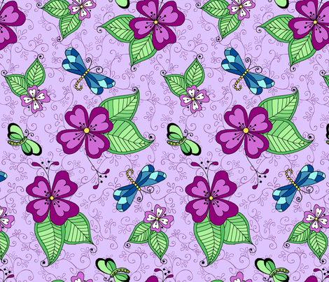 Dragonfly Lilac  fabric by kkomdahl on Spoonflower - custom fabric