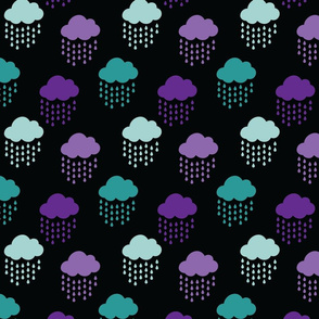 Purple Blue and Teal Rain Clouds on Black