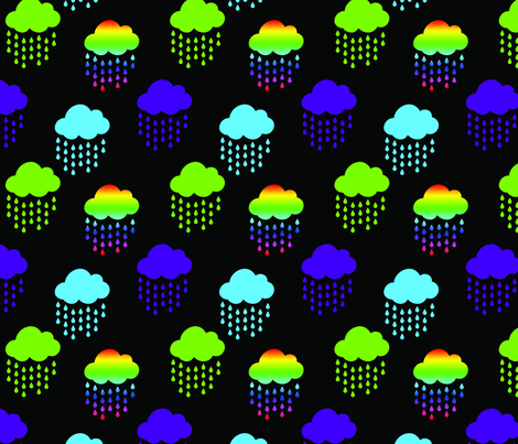 Rainbow and Green Blue Purple Clouds on Black fabric by littlefancypants on Spoonflower - custom fabric
