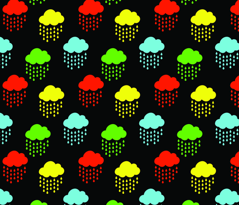 Red Yellow Green and Blue Rainbow Clouds on Black fabric by littlefancypants on Spoonflower - custom fabric