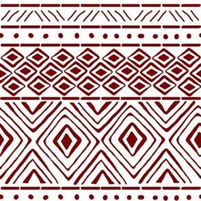 Ornate Maroon Mud Cloth // Small
