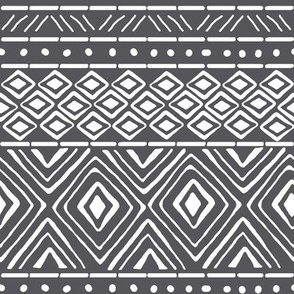 Ornate Mud Cloth - Charcoal // Small