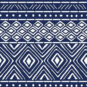 Ornate Mud Cloth - Navy // Small