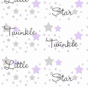 Twinkle Star Purple Lavender Gray Grey
