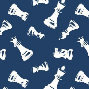3D Chess Pieces // Navy