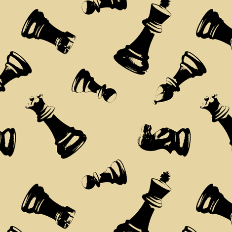 3d Chess Pieces // Tan fabric by thinlinetextiles on Spoonflower - custom fabric