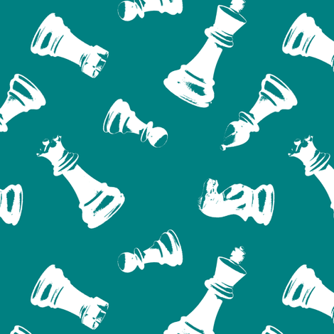 3d Chess Pieces // Teal fabric by thinlinetextiles on Spoonflower - custom fabric