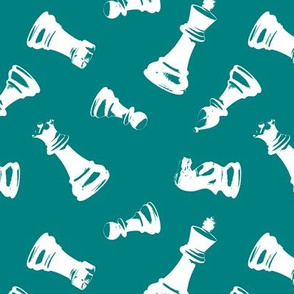 3d Chess Pieces // Teal