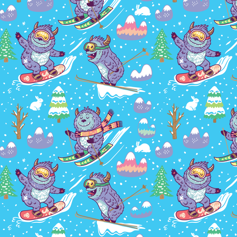 Winter holidays with yetis fabric by penguinhouse on Spoonflower - custom fabric