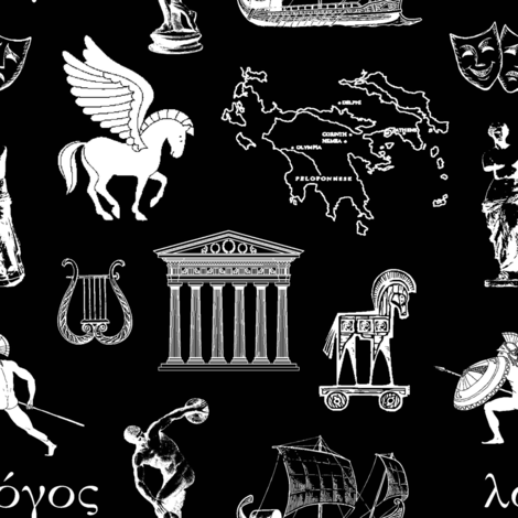Ancient Greece // Black // Small fabric by thinlinetextiles on Spoonflower - custom fabric