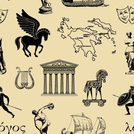 Ancient Greece // Tan // Small fabric by thinlinetextiles on Spoonflower - custom fabric