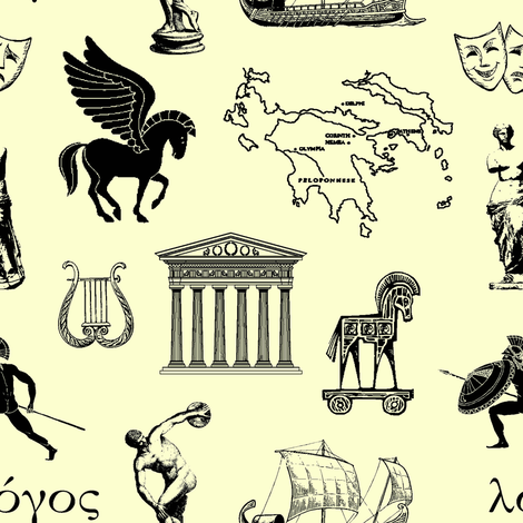 Ancient Greece // Pale Yellow // Small fabric by thinlinetextiles on Spoonflower - custom fabric