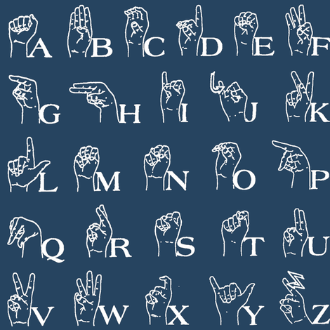 Sign Language Alphabet // Navy fabric by thinlinetextiles on Spoonflower - custom fabric